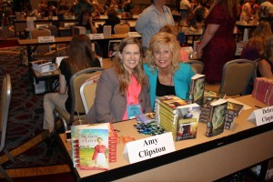 Author Debra Clopton and author Amy Clipson at the 2013 RWA Literacy Signing.