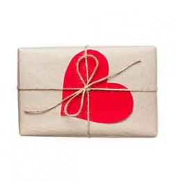 Gift box with red paper heart